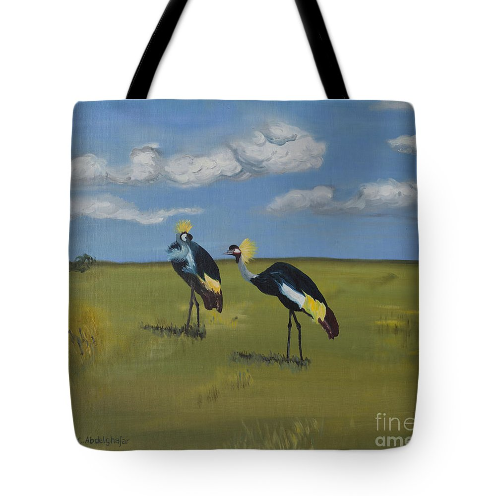Oilpainting Tote Bag featuring the painting Royal Cranes by Claudia Luethi alias Abdelghafar