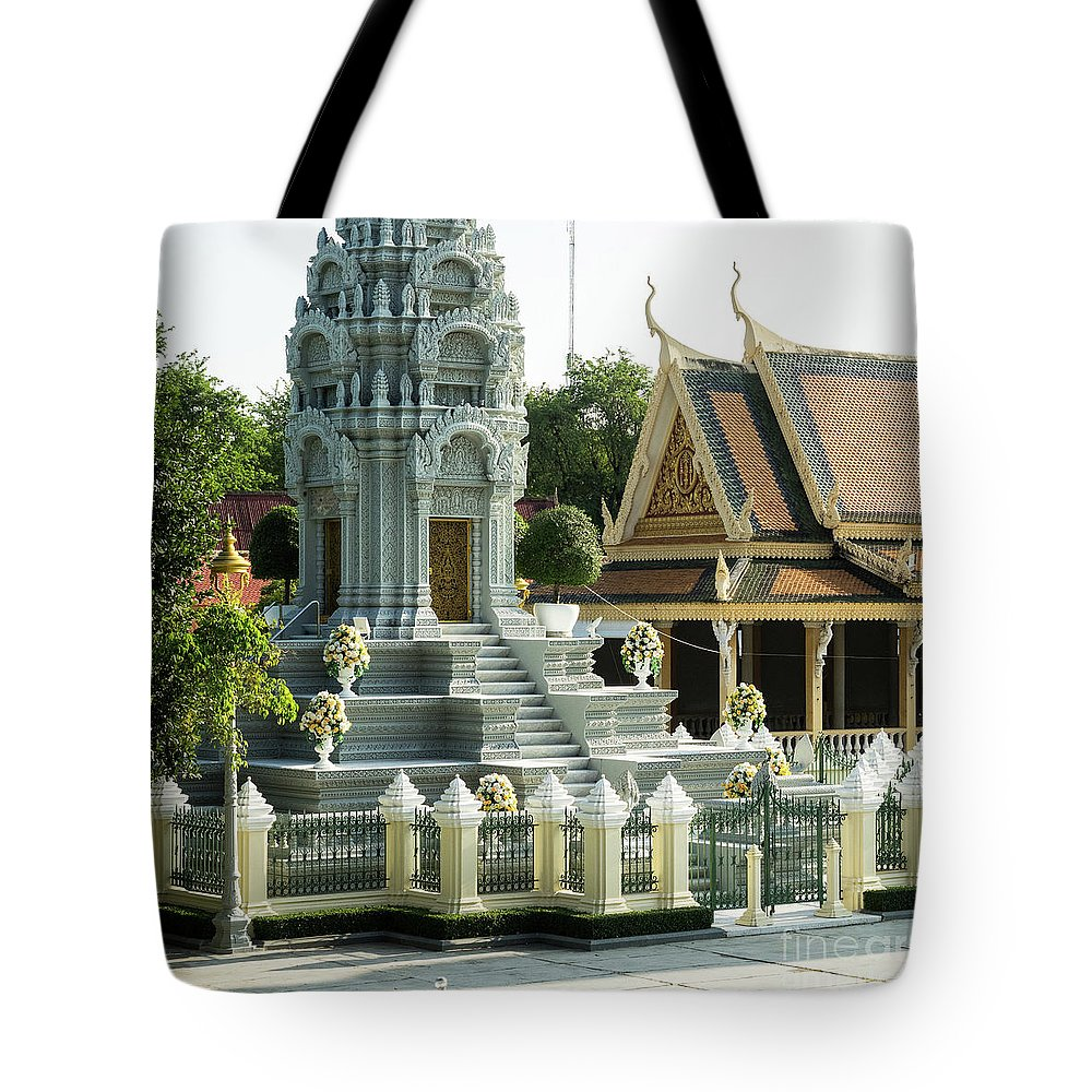 Cambodia Tote Bag featuring the photograph Royal Palace Shrine 02 by Rick Piper Photography
