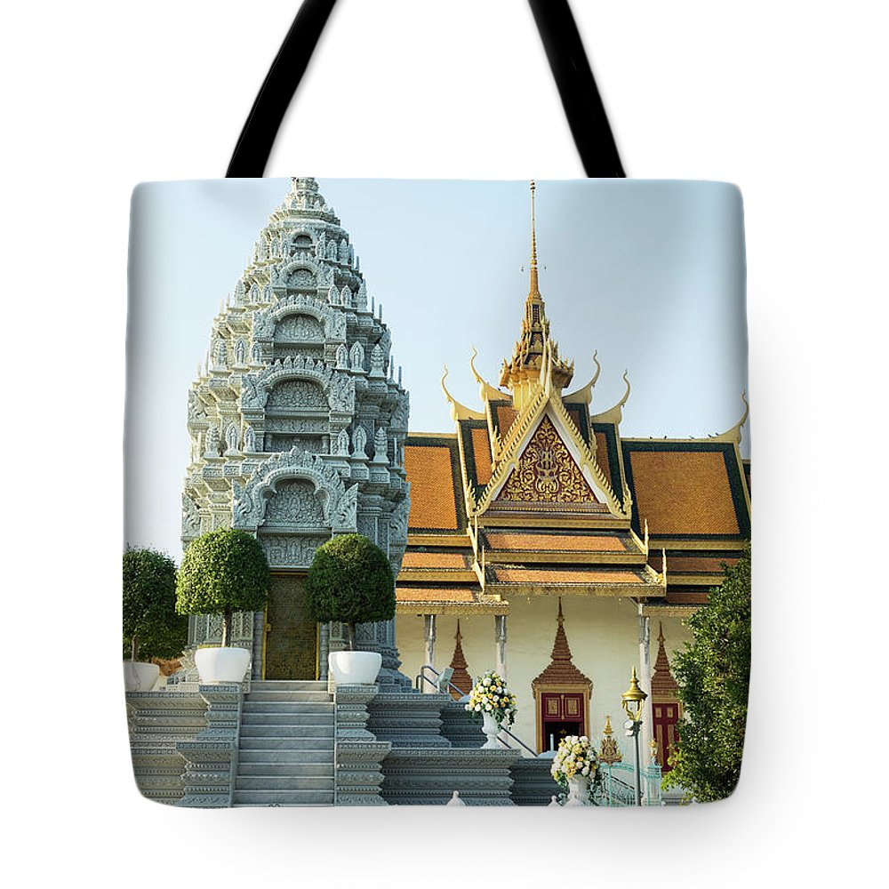 Cambodia Tote Bag featuring the photograph Royal Palace Shrine 03 by Rick Piper Photography