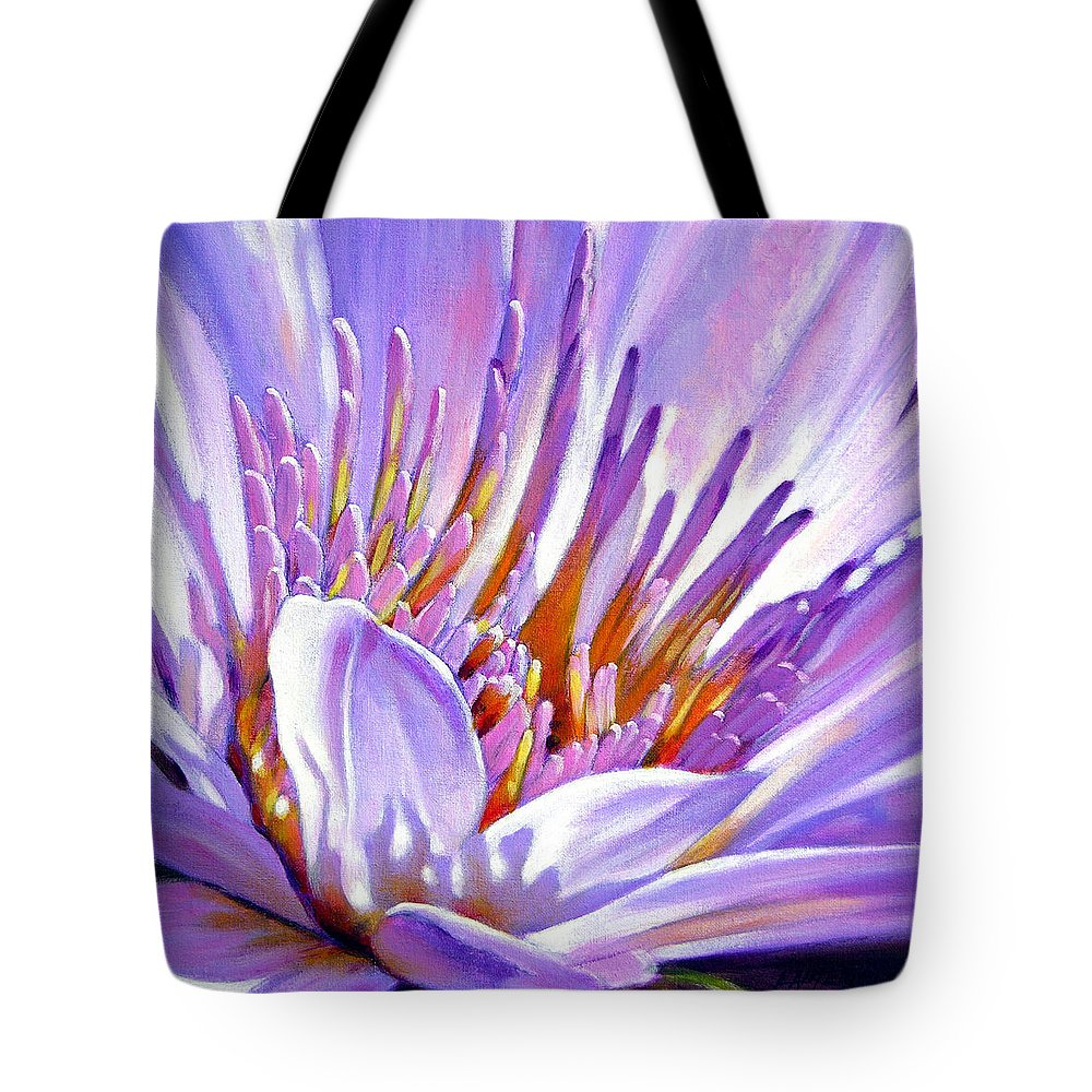 Water Lily Tote Bag featuring the painting Royal Purple And Gold by John Lautermilch