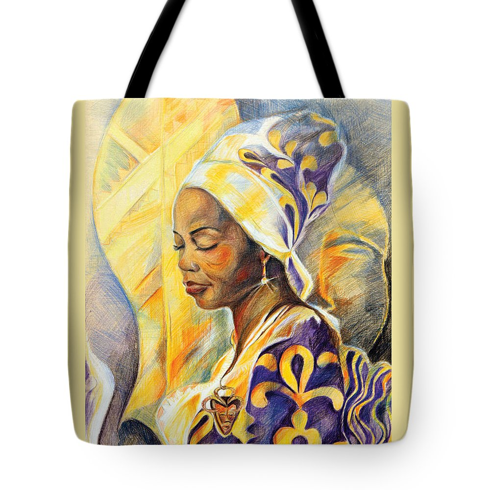 Portrait Fantasy Tote Bag featuring the drawing Royal Spirit by Bernadett Bagyinka