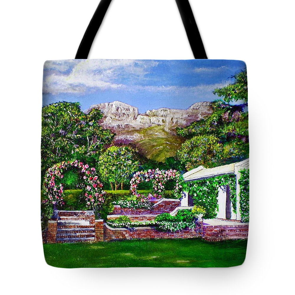Landscape Tote Bag featuring the painting Rozannes Garden by Michael Durst