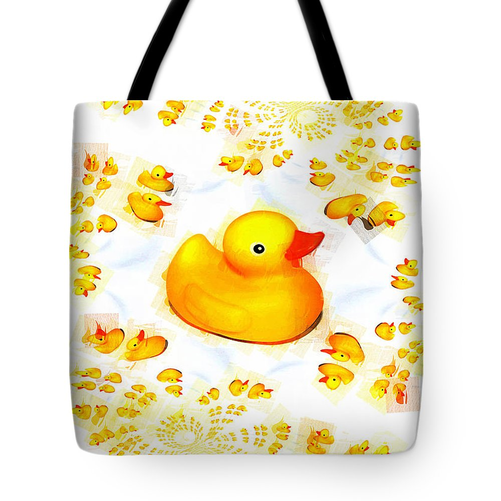 Rubber Duck Tote Bag featuring the mixed media Rubber Ducks by P Donovan