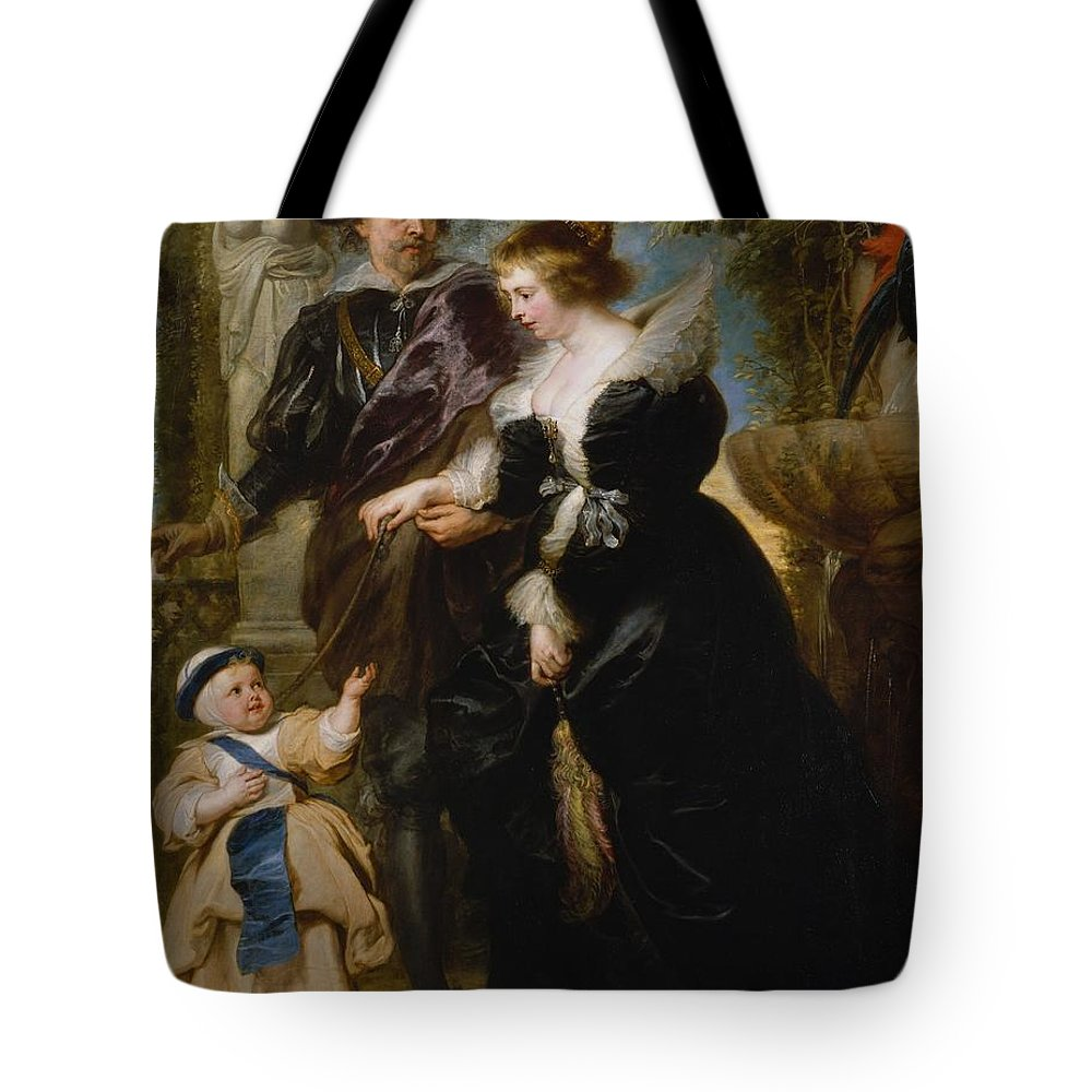 Peter Paul Rubens Rubens His Wife Helena Fourment 16141673 And Their Son Frans 16331678 Tote Bag featuring the painting Rubens His Wife Helena Fourment 16141673 And Their Son Frans 16331678 by Peter Paul Rubens