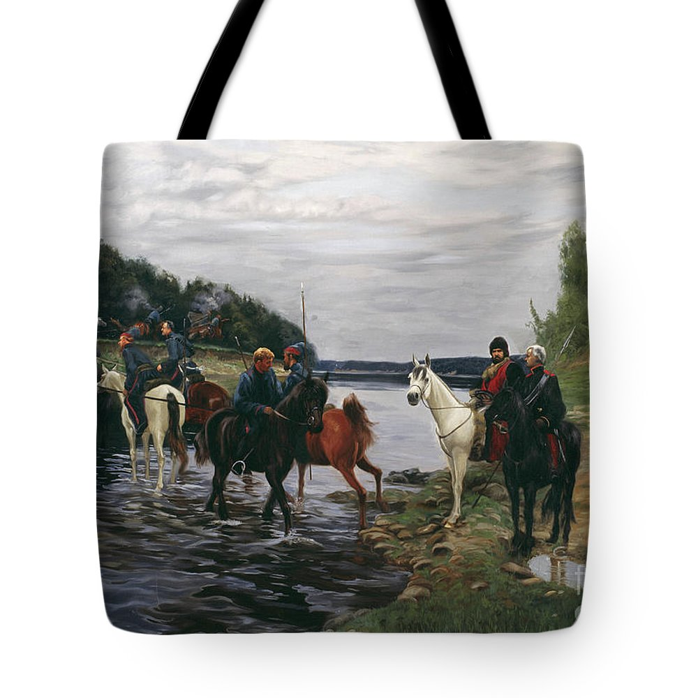 Horses Tote Bag featuring the painting Rubicon. Crossing The River By Denis Davydov Squadron. 1812. by Simon Kozhin
