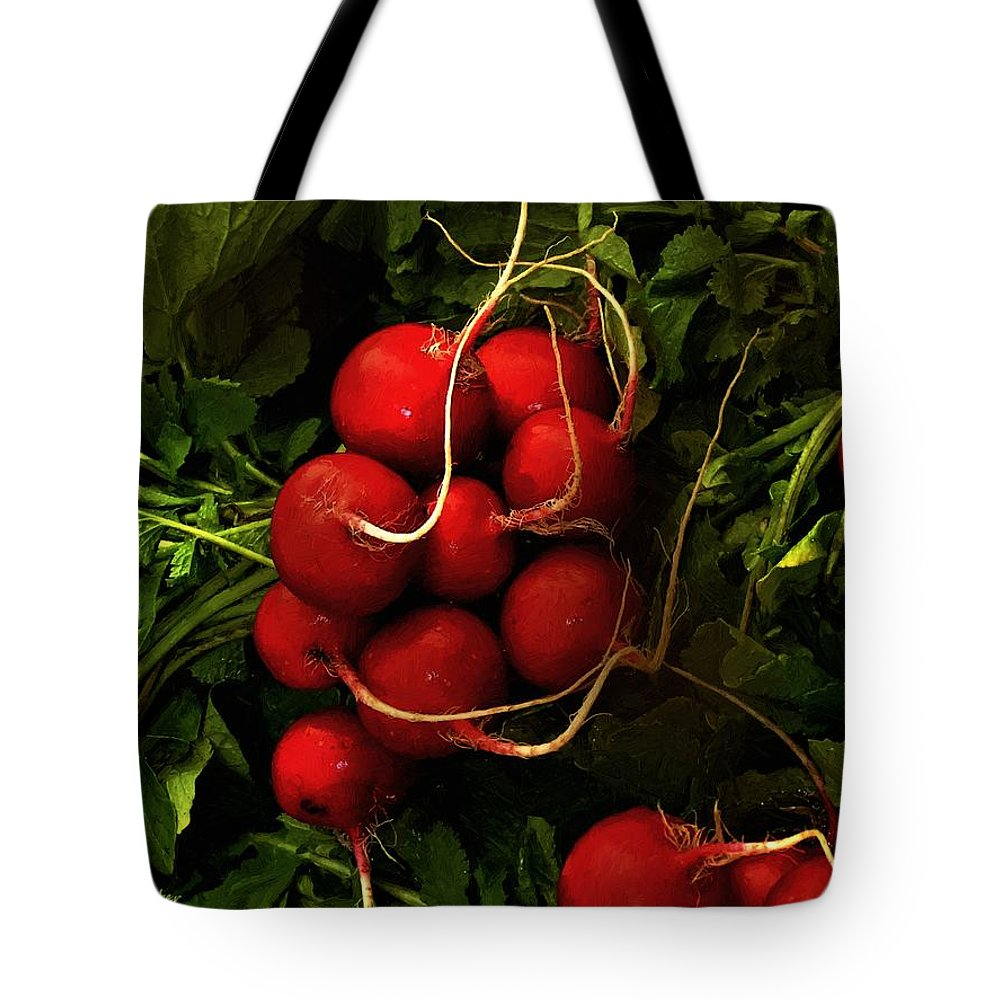 Radishes Tote Bag featuring the painting Rubies From The Field by RC DeWinter