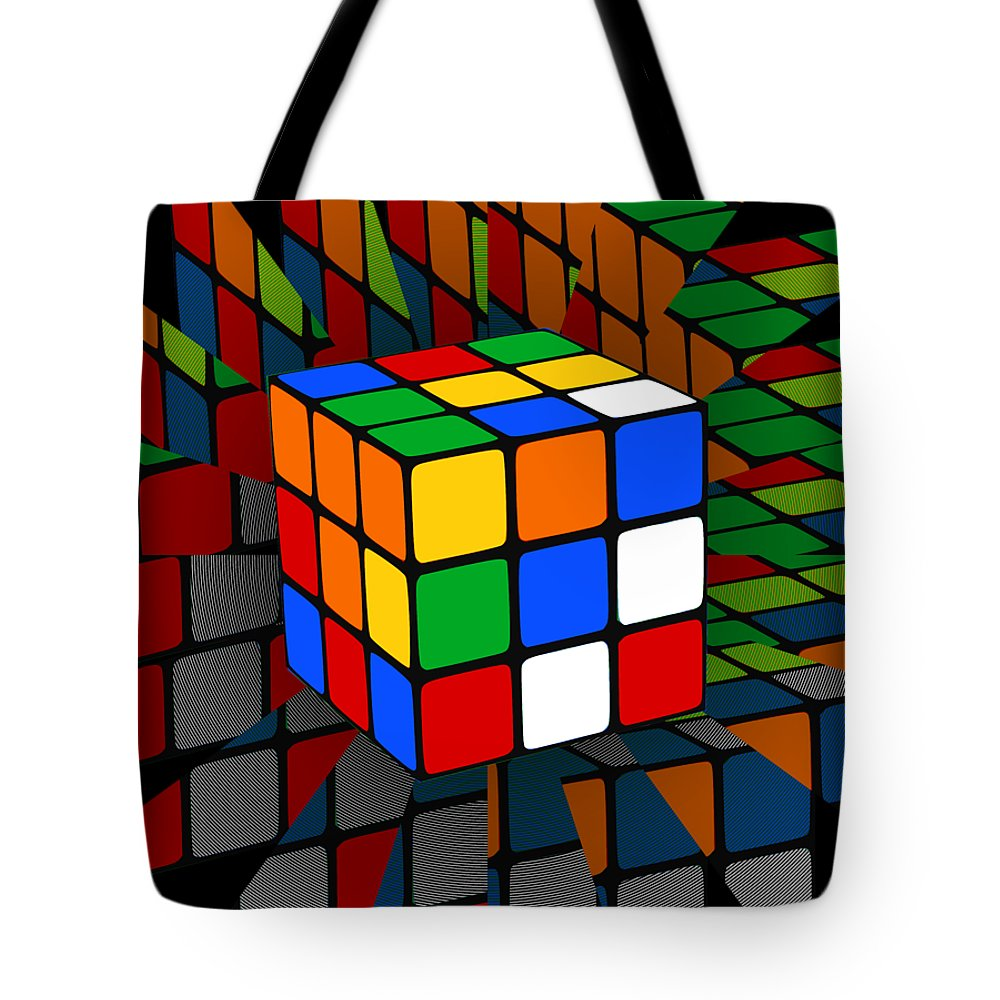 Rubiks Cube Tote Bag featuring the digital art Rubik's Cube by Chris Butler