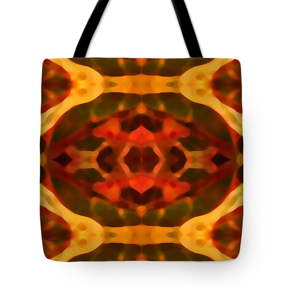 Abstract Painting Tote Bag featuring the digital art Ruby Crystal Pattern by Amy Vangsgard