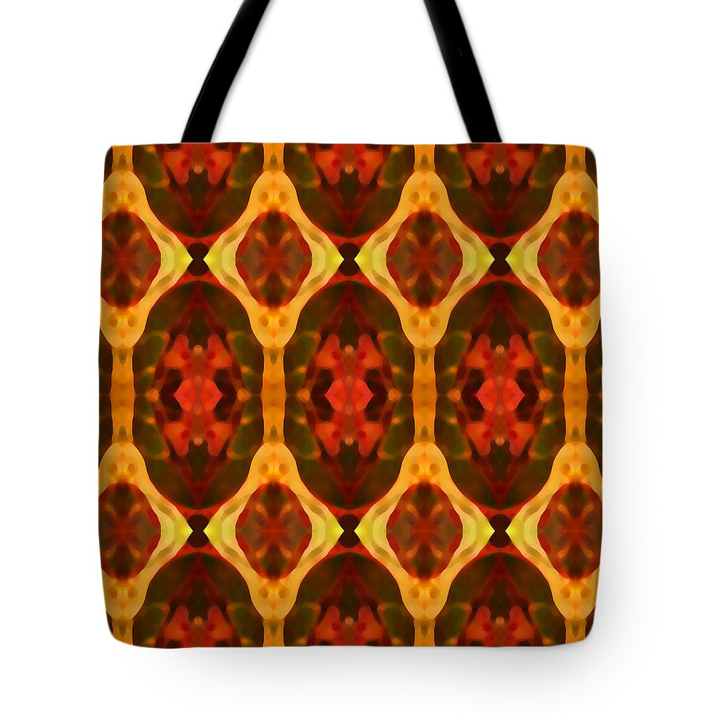 Abstract Tote Bag featuring the painting Ruby Glow Pattern by Amy Vangsgard