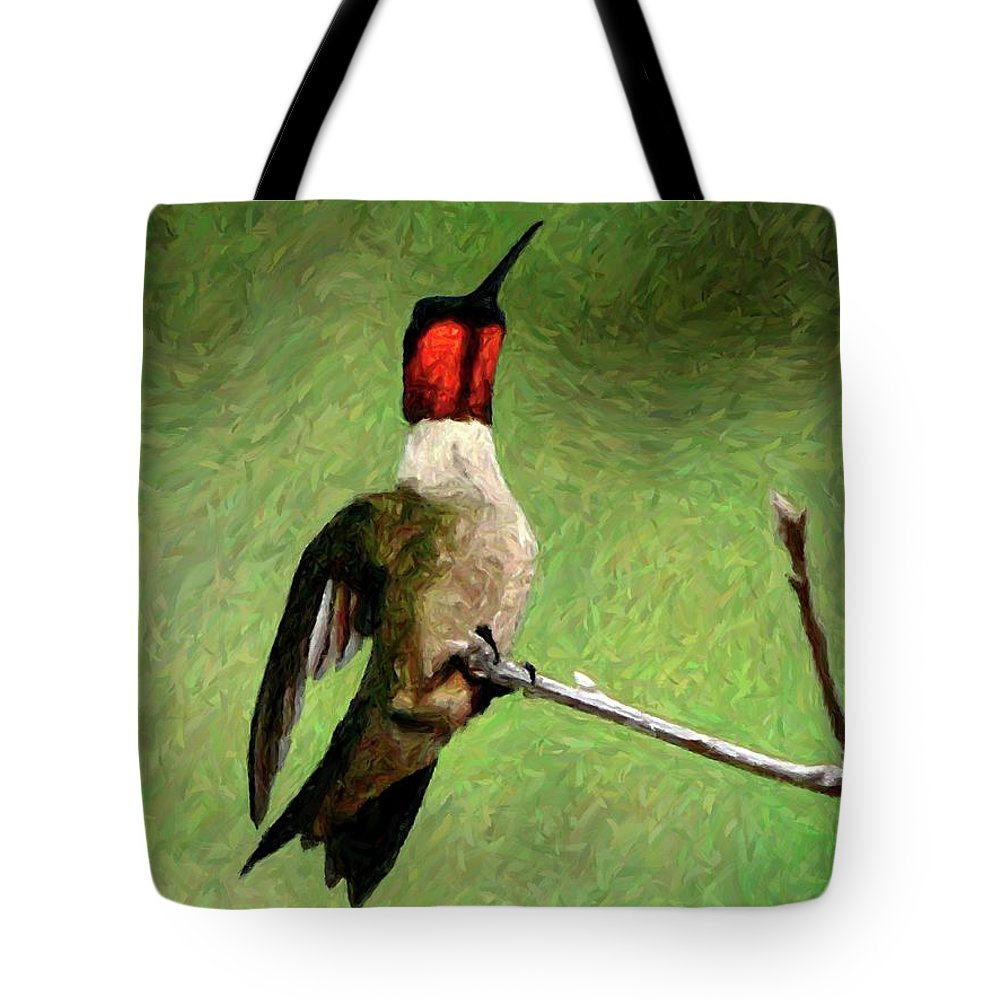 Ruby-throated Hummingbird Tote Bag featuring the photograph Ruby Red - Digital Art by Al Powell Photography USA
