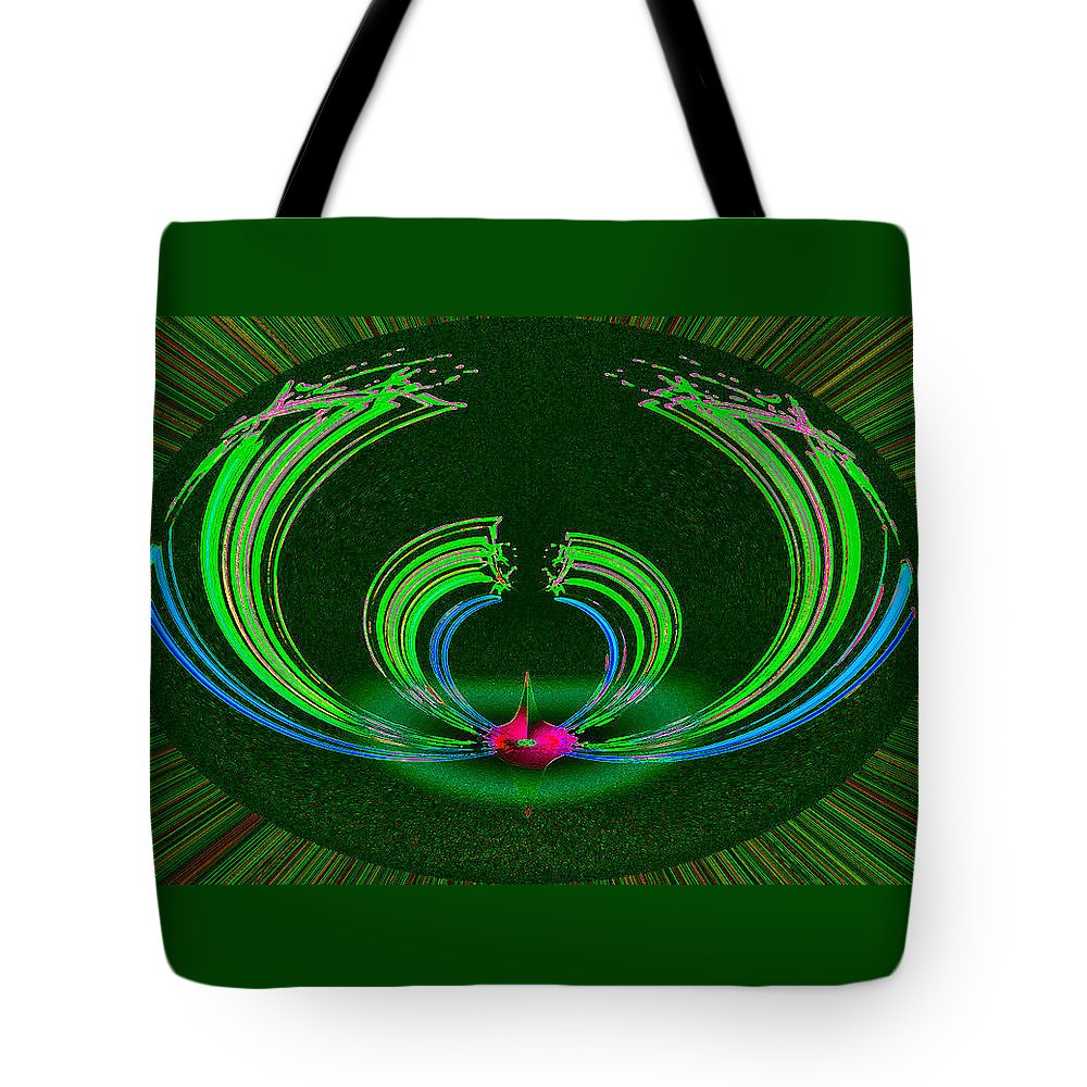 Ruby Tote Bag featuring the digital art Ruby Singularity In Emerald Sapphire Nest by Don Quackenbush