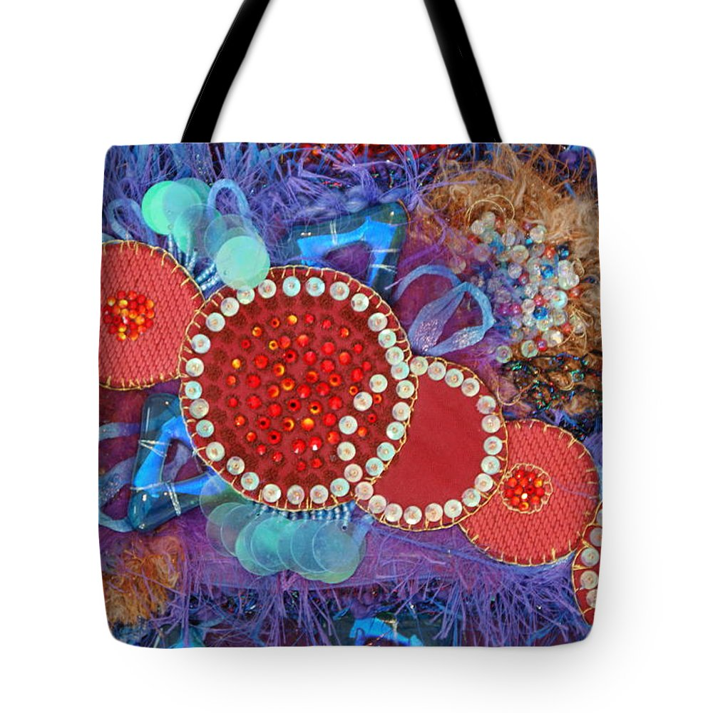 Tote Bag featuring the mixed media Ruby Slippers 1 by Judy Henninger