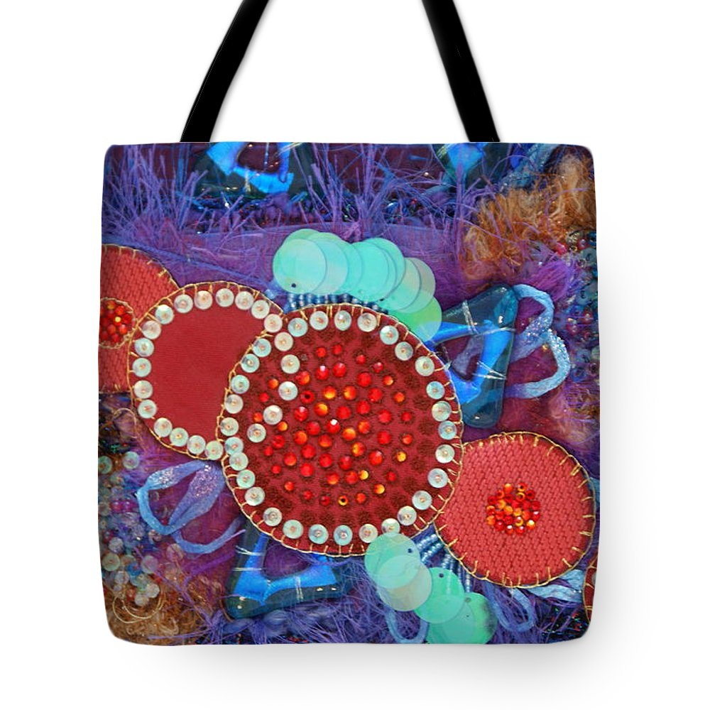 Tote Bag featuring the mixed media Ruby Slippers 2 by Judy Henninger