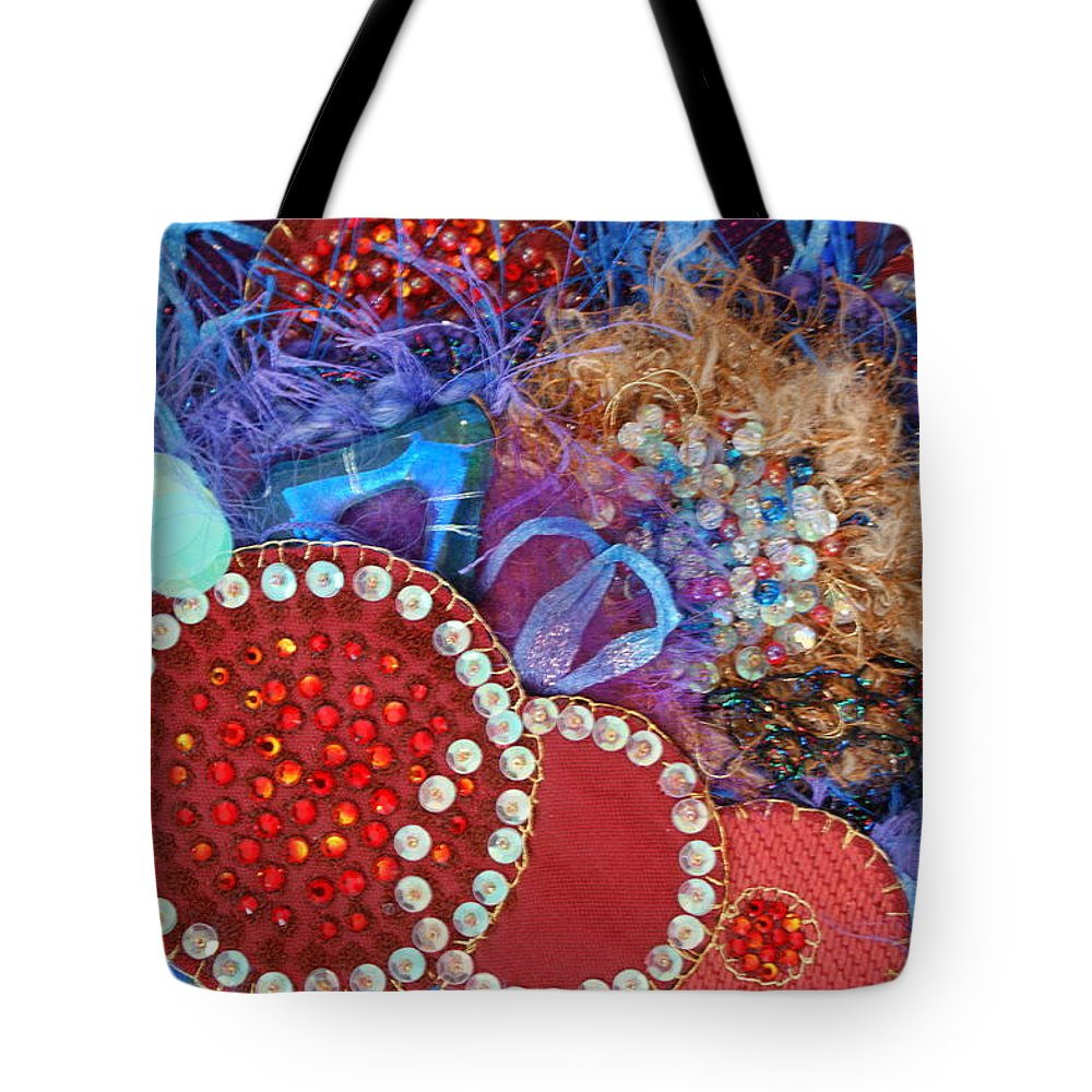 Tote Bag featuring the mixed media Ruby Slippers 3 by Judy Henninger