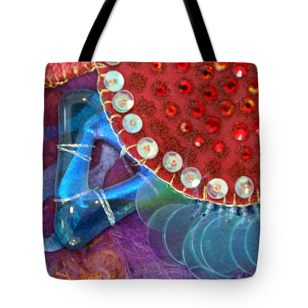 Tote Bag featuring the mixed media Ruby Slippers 4 by Judy Henninger