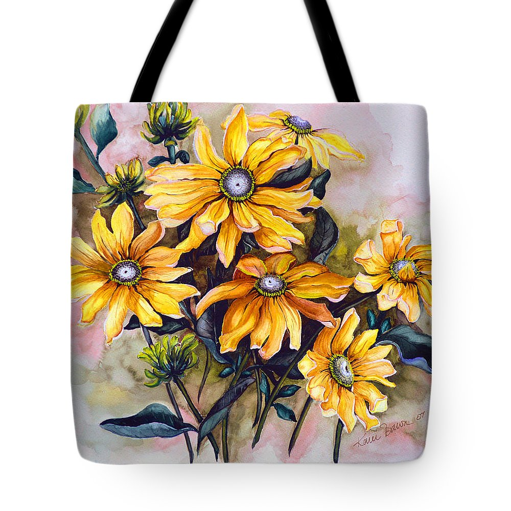 Flower Painting Sun Flower Painting Flower Botanical Painting  Original Watercolor Painting Rudebeckia Painting Floral Painting Yellow Painting Greeting Card Painting Tote Bag featuring the painting Rudbeckia Prairie Sun by Karin Dawn Kelshall- Best