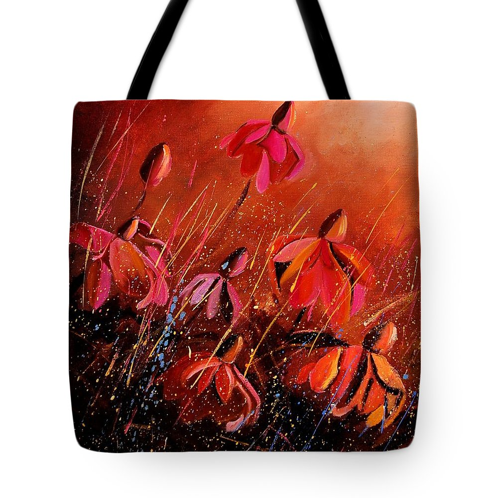 Poppies Tote Bag featuring the painting Rudbeckia's 45 by Pol Ledent