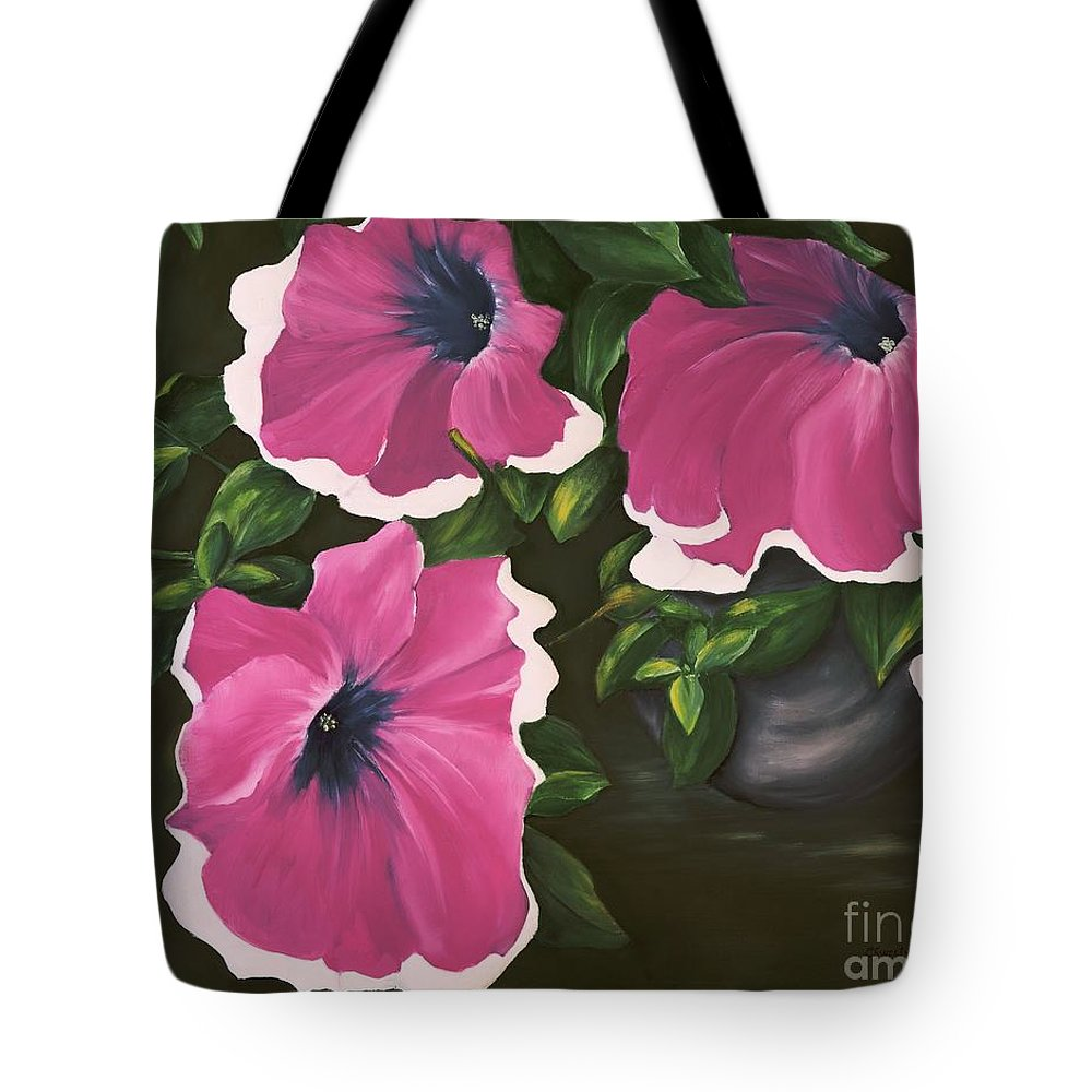 Petunia Tote Bag featuring the painting Ruffled Petunias by Carol Sweetwood