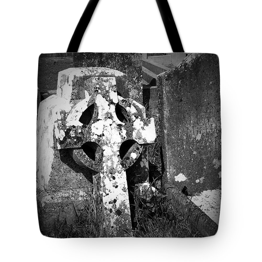 Celtic Tote Bag featuring the photograph Rugged Cross At Fuerty Cemetery Roscommon Ireland by Teresa Mucha