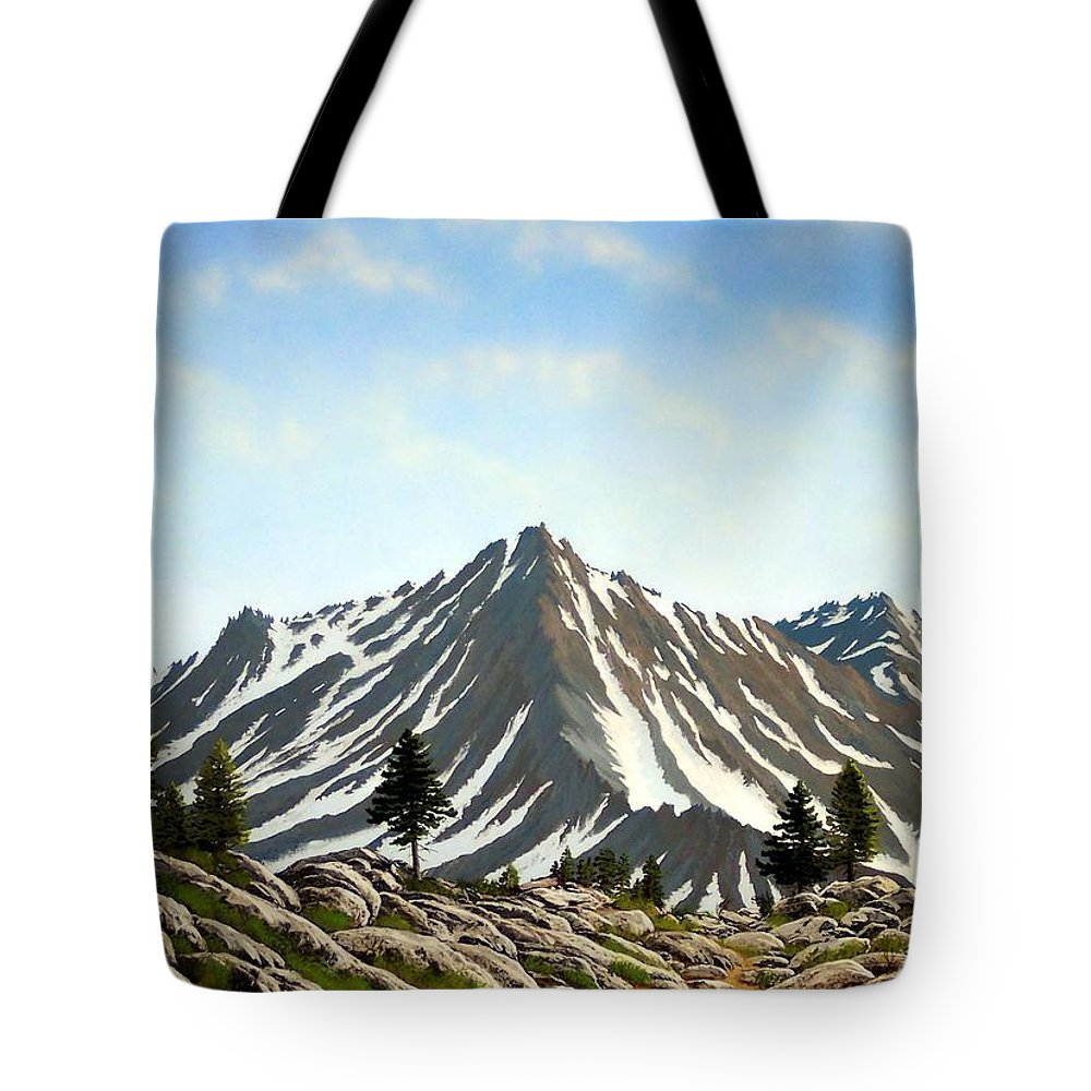 Mountians Tote Bag featuring the painting Rugged Peaks by Frank Wilson