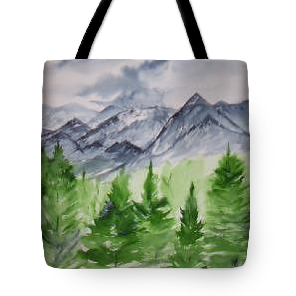 Plein Air Tote Bag featuring the painting Ruidoso Nm Southwestern Mountain Landscape Watercolor Painting Poster Print by Derek Mccrea