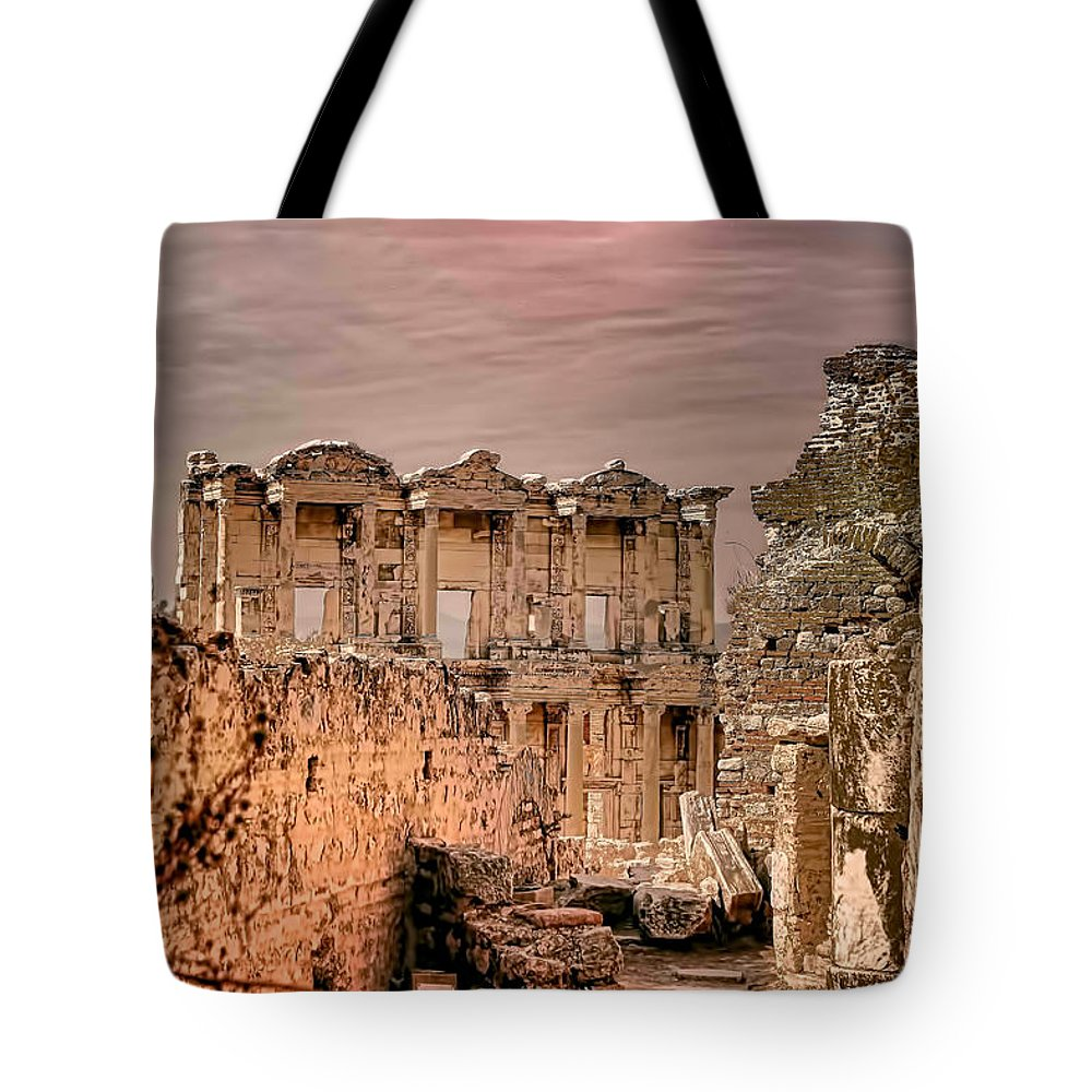 Europe Tote Bag featuring the photograph Ruins Of Ephesus by Tom Prendergast