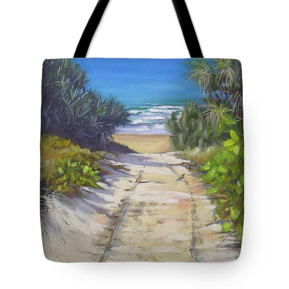 Beach Painting Tote Bag featuring the painting Rules Beach Queensland Australia by Chris Hobel