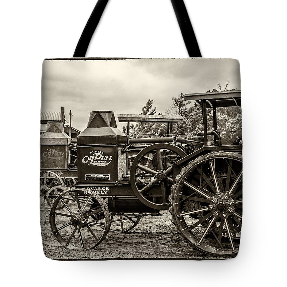 Rumley Tote Bag featuring the photograph Rumley Oil Pull Vintage by Paul Freidlund