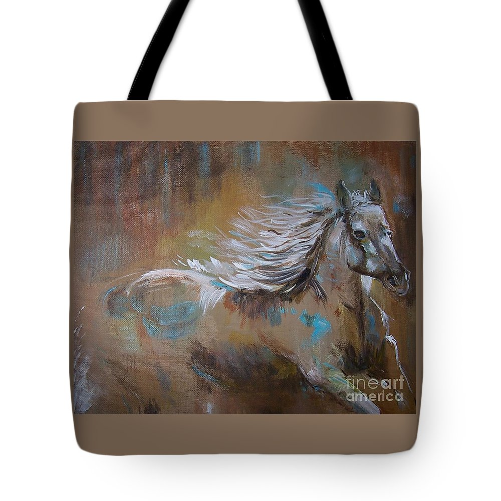 Horse Tote Bag featuring the painting Run Away by Leslie Allen