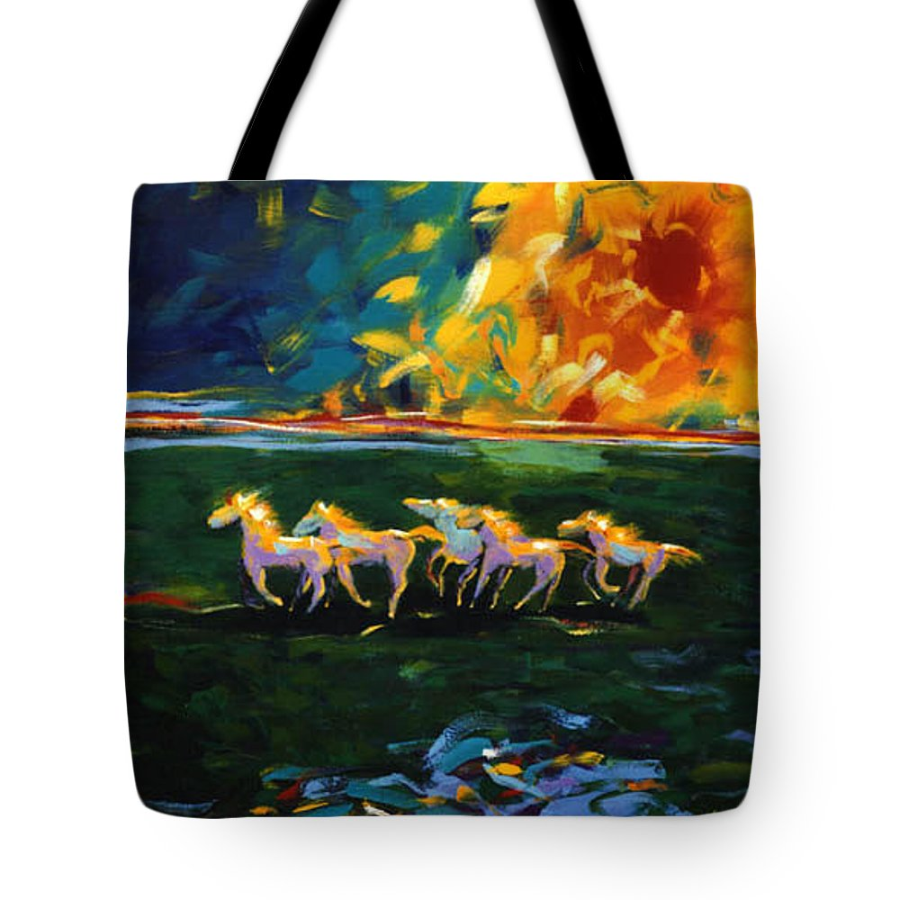 Abstract Horse Tote Bag featuring the painting Run From The Sun by Lance Headlee