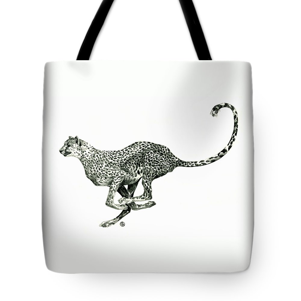 Nature Tote Bag featuring the drawing Running Cheetah by Shirley Heyn