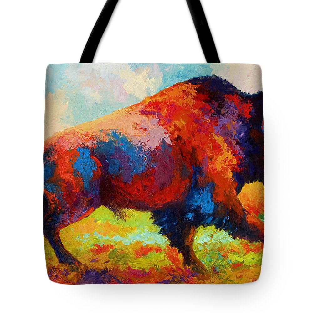 Bison Tote Bag featuring the painting Running Free by Marion Rose