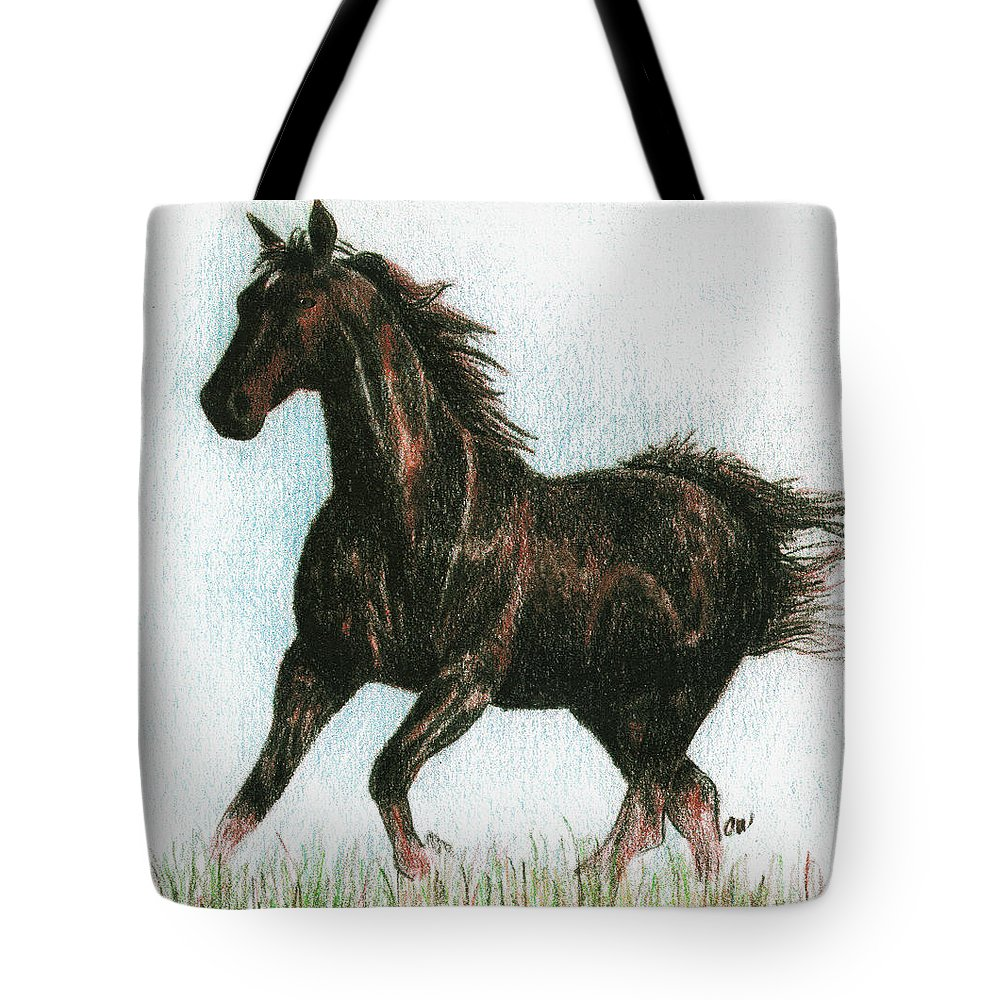 Horse Tote Bag featuring the drawing Running Free by Arline Wagner