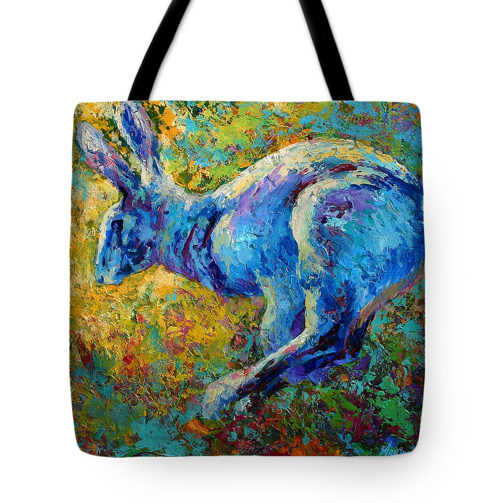 Rabbit Tote Bag featuring the painting Running Hare by Marion Rose