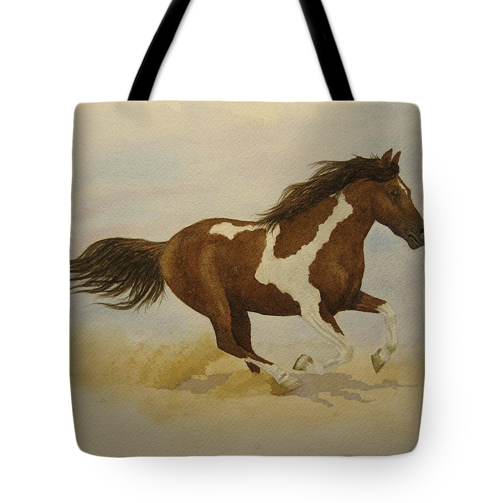 Paint Horse Tote Bag featuring the painting Running Paint by Jeff Lucas