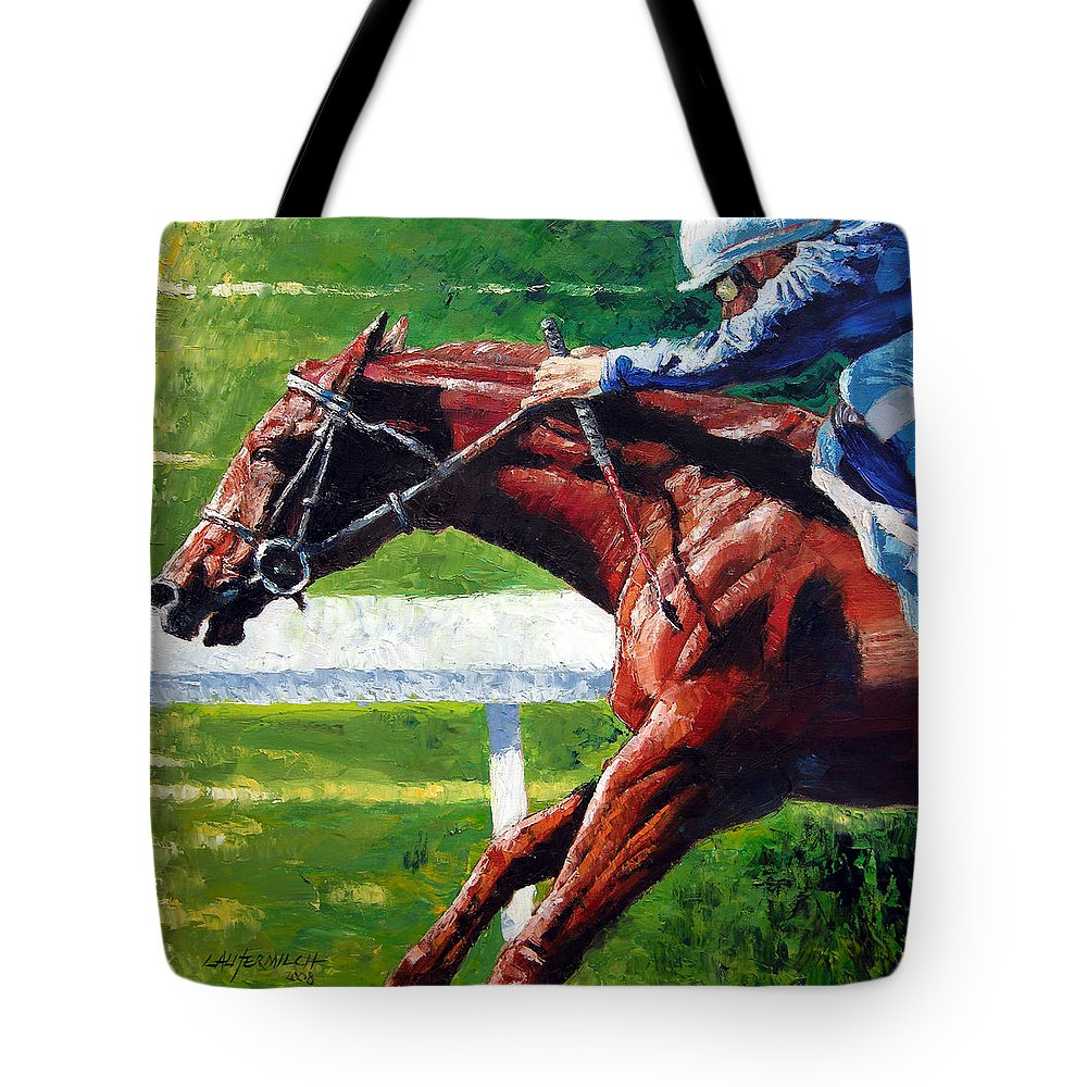 Horse Race Tote Bag featuring the painting Running Towards The Light by John Lautermilch