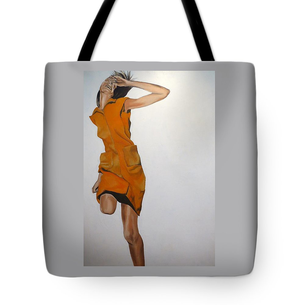 Woman Tote Bag featuring the painting Running Woman by Janice Petrella-Walsh