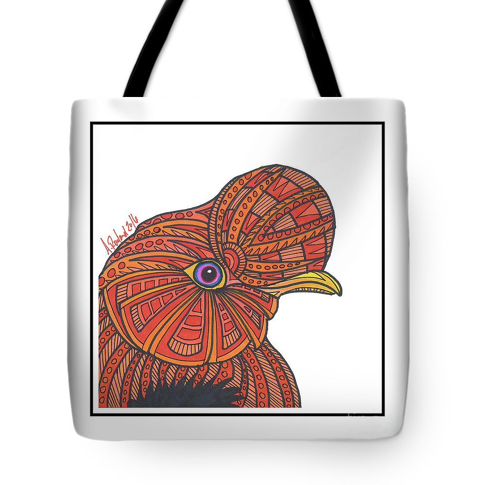 Tote Bag featuring the drawing Rupicola #27 by Allie Rowland