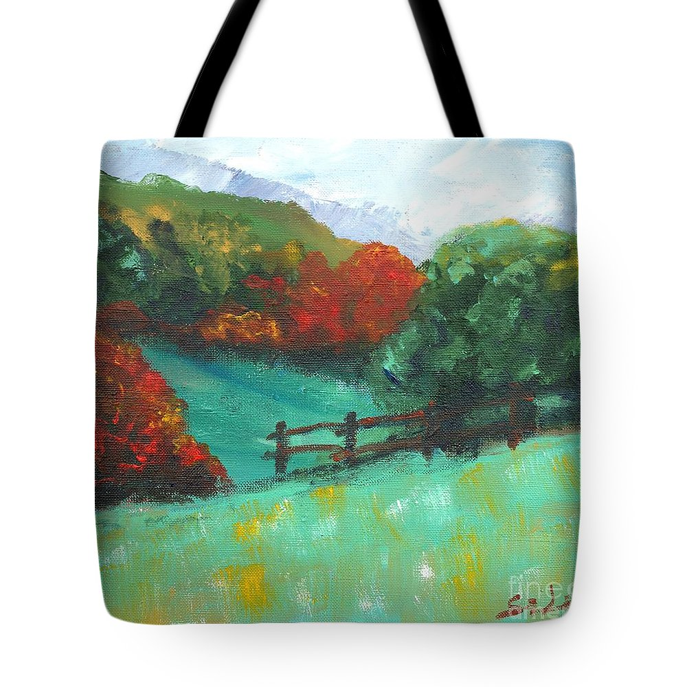 Abstract Landscape Tote Bag featuring the painting Rural Autumn Landscape by Lidija Ivanek - SiLa