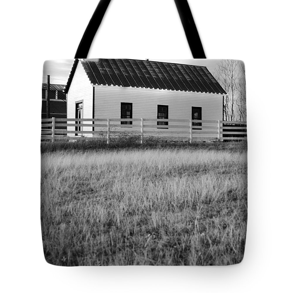 Black And White Tote Bag featuring the photograph Rural Church Black And White by Jill Reger