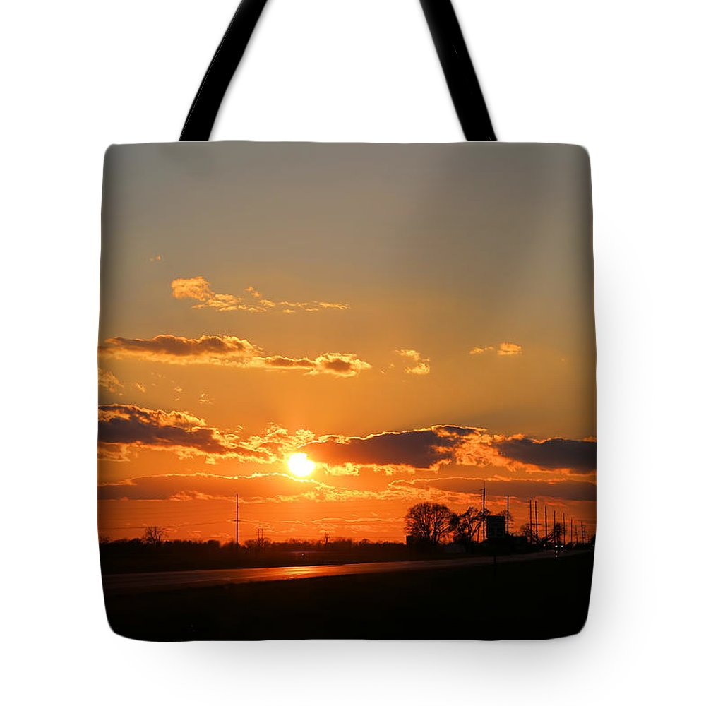 Illinois Tote Bag featuring the photograph Rural Il Sunset Reflections by Theresa Campbell