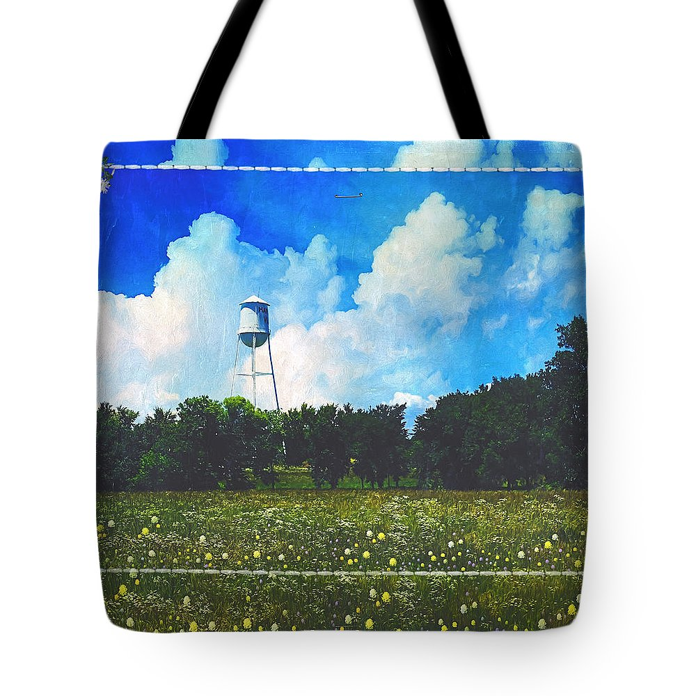 Water Tower Tote Bag featuring the photograph Rural Water Tower Unconventional by Anna Louise
