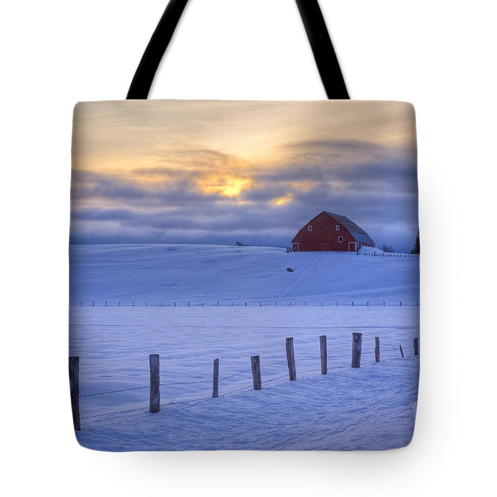 Barn Tote Bag featuring the photograph Rural Winter by Idaho Scenic Images Linda Lantzy