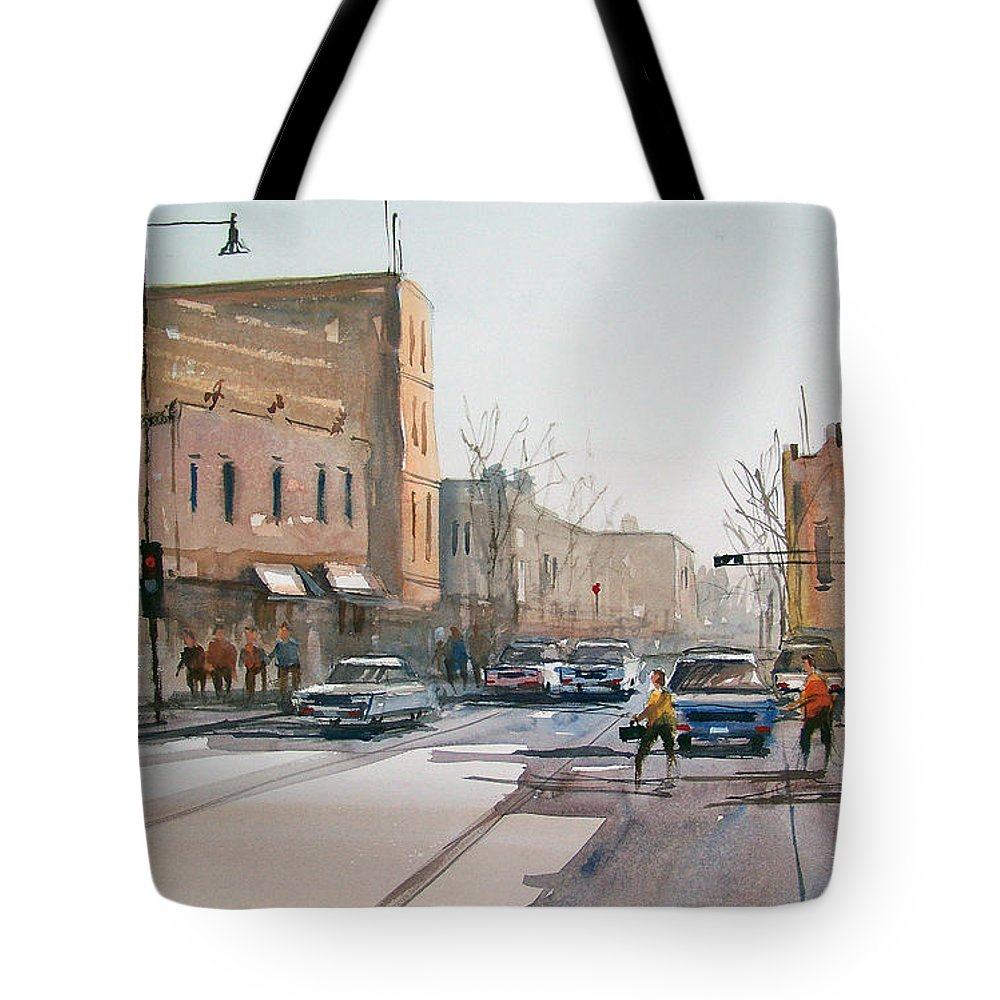 Street Scene Tote Bag featuring the painting Rush Hour II In Fond Du Lac by Ryan Radke
