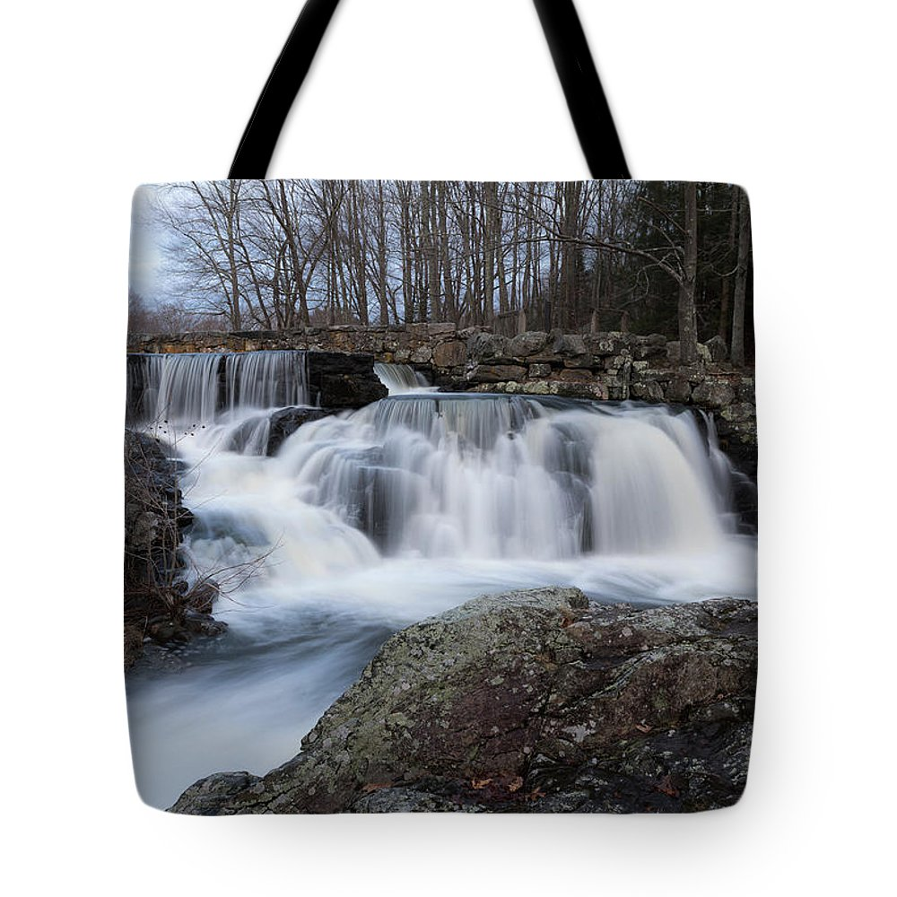 Waterfall Tote Bag featuring the photograph Rushing Falls by Debbie Gracy
