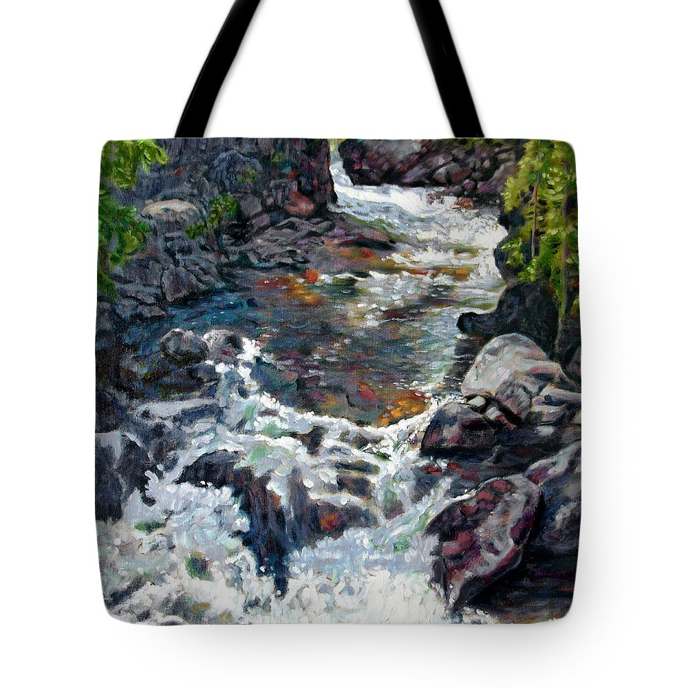 A Fast Moving Stream In Colorado Rocky Mountains Tote Bag featuring the painting Rushing Waters by John Lautermilch