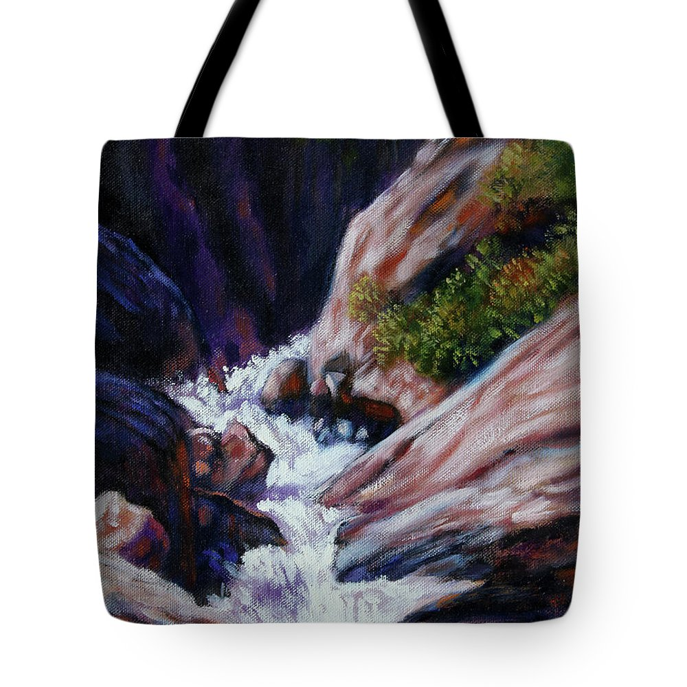Mountain Stream Tote Bag featuring the painting Rushing Waters two by John Lautermilch