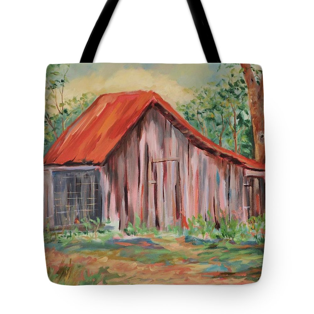 Chicken Coops Tote Bag featuring the painting Russel Crow by Ginger Concepcion