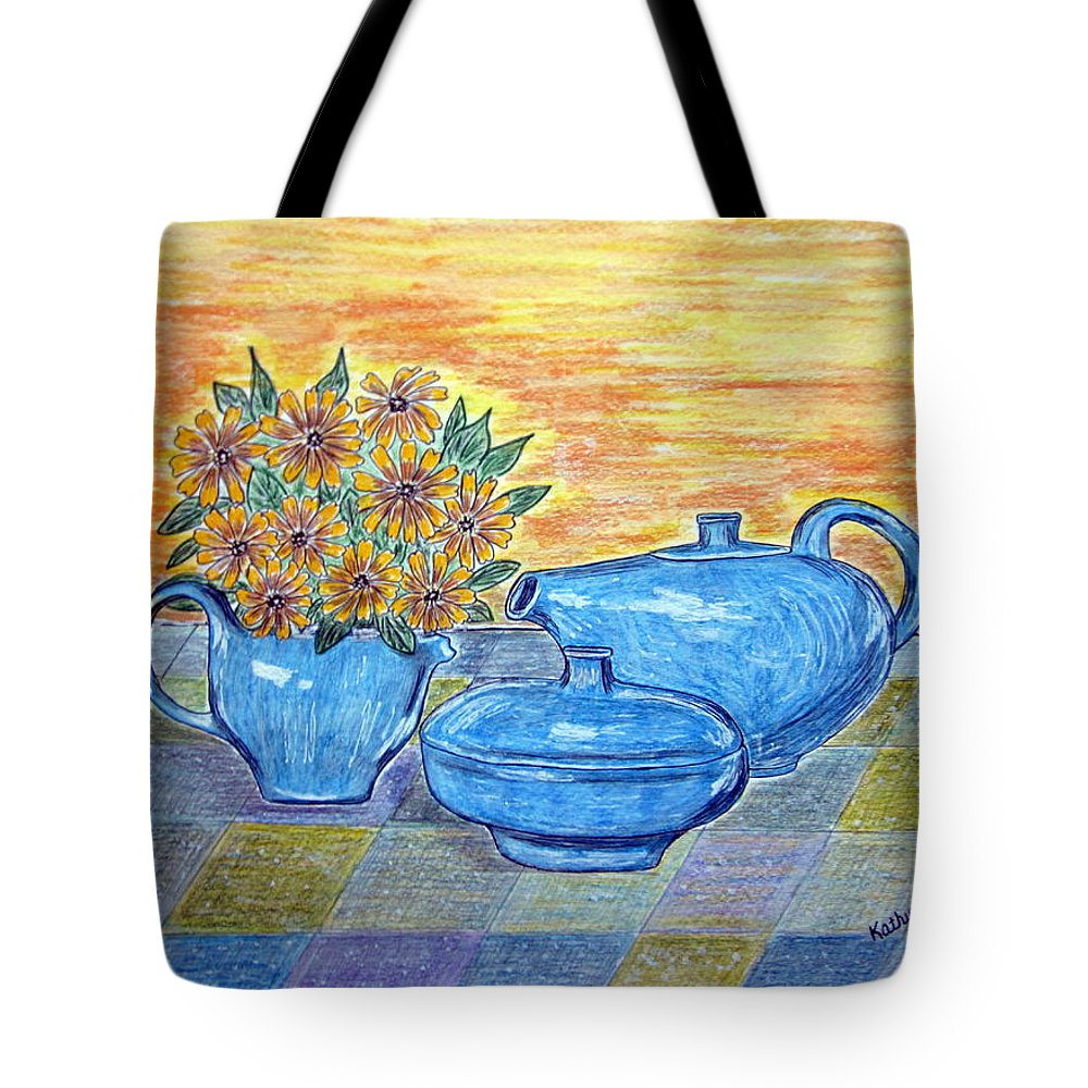 Russell Wright China Tote Bag featuring the painting Russel Wright China by Kathy Marrs Chandler