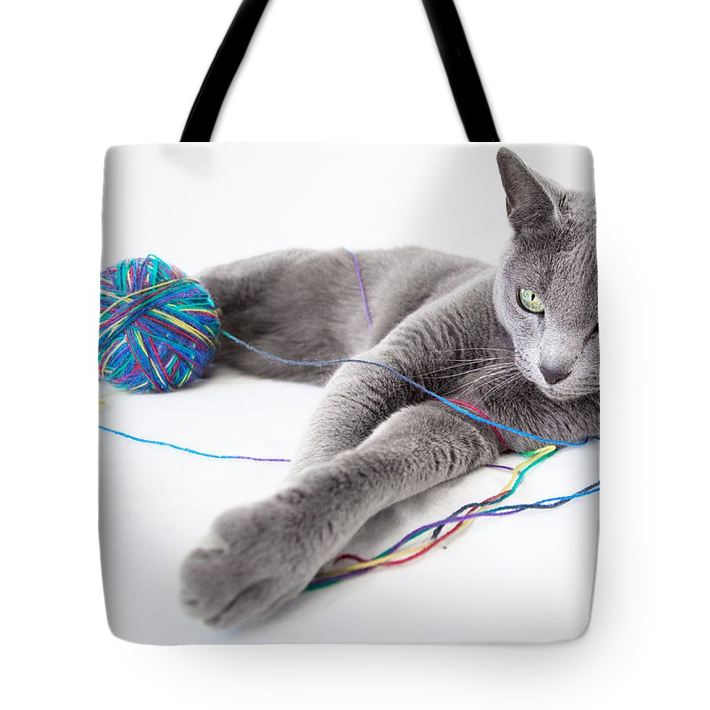 Russian Tote Bag featuring the photograph Russian Blue by Nailia Schwarz